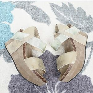 Pierre Dumas Two Tone Gold Wedge Sandals 7.5